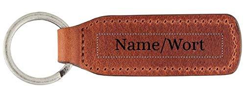 TALED - Schlüsselanhänger Leder mit eigener Wunschgravur beidseitig - Premium Qualität inklusive Stoffsäckchen - optimales Geschenk für Männer und Frauen