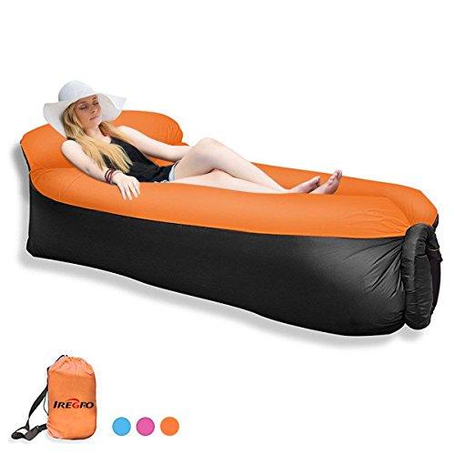 Qomolo Sofá inflable del ocioso con la almohada, sofa hinchable ligero portátil al aire libre durable impermeable del aire del poliéster para acampar, parque, playa, patio trasero
