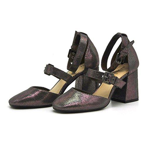 QPYC Stivali con tacco alto da donna Stivali con tacco quadrato Modello con lucertola metallica Sandali aperti con punta aperta Cinturini con tacco ruvido Centinaia di scarpe da donna gun color