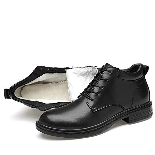 Casual Suede Shoe Herren Outdoor Tooling Herrenschuhe Militärstiefel Plus Samt Herrenstiefel In The Leather Martin Stiefel Herren Sneaker (Farbe : Black with Cotton, Size : 46) Cotton Suede Cap