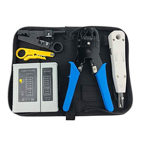 6-in-1 Computer Repair LAN Cable Tester Kit, Network Repair Kit, RJ45/RJ11 CAT5E CAT6 Crimp Tool Set -