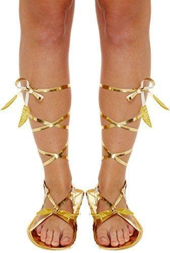 Griechisch Gladiator Krawatte Kostüm Kleid Outfit Flache Sandale Zubehör - Gold, Eine Größe für Alle (Römische Gladiator Kostüme)
