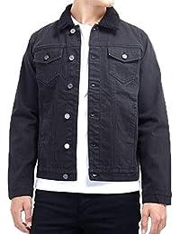 6b4493f9455 Brave Soul Mens Vintage Sherpa Borg Collar Lined Washed Denim Indie Jacket  Coat