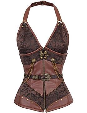 Lover-Beauty Corset Estampado Mujer Vintage Gótico Botón Steampunk Top Brocado Cadenas de Metal Rockabilly Corset...