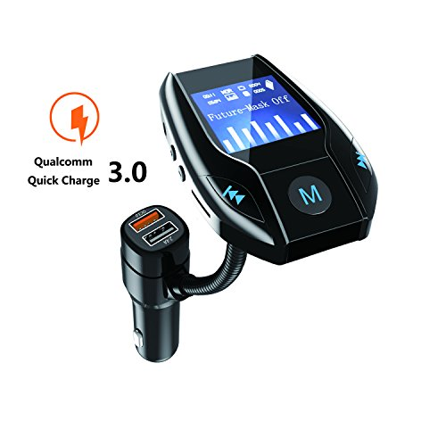 tooth In-Car FM Transmitter Car Radio Hands Free Talk FM Transmitter Kit Transmitter Receiver Adapter 1.49 Inch Lcd Display 3 USB Ports MP3 Player Aux Input/Micro SD Card/USB Flash Drive Quick Charge 3.0 4X faster (Bluetooth Car Kit Mp3-player)