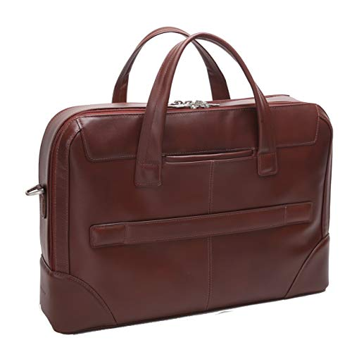 Dual Compartment Laptop Briefcase, Leather, Mid-Size, Brown - Harpswell   Mcklein - 88564