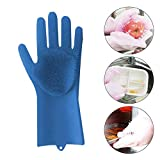 KOBWA 1pc Silicone Cleaning Brush Scrubber Glove Heat Resistant(Left Hand), Reusable Silicone Gloves with Wash Scrubber, Magic Silicone Cleaning Glove for Dish Wash,Cleaning,Pet Hair Care,Household