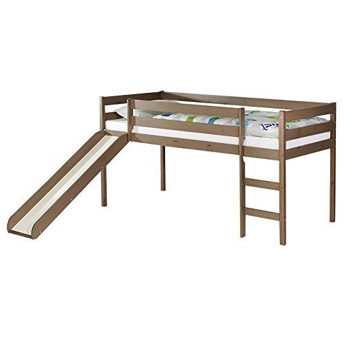 IDIMEX Spielbett Rutschbett Hochbett Bett mit Rutsche Benny für Kinder Kiefer massiv in Taupe lackiert 90 x 200 cm (B x L) (Kinder-hochbett Mit Treppe)