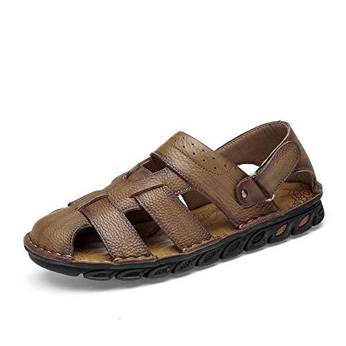 Apragaz Herrenmode Sandalen, Lässige Coole Atmungsaktive Bequeme Klettverschluss Outdoor Wasser Schuhe (Color : Dunkelbraun, Größe : 44 EU) -