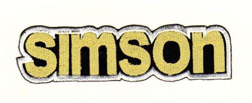 Aufnäher Bügelbild Aufbügler Iron on Patches Applikation Simson Schriftzug Moped DDR Suhl Werk S50, S51, S70, Schwalbe