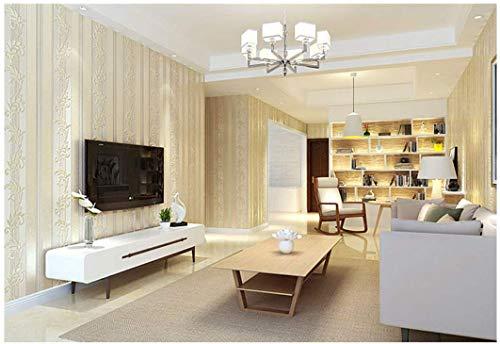 Qmhs Tapetennon-Woven European Vertical Stripes Wallpaper Bedroom Living Room Stickers 3D Stereo Nordic Style Study Beige Wallpaper 10Mx0.53M Elegant Yellow -
