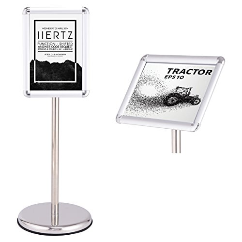 COSTWAY Infoständer Informationsständer Plakatständer Kundenstopper Präsentationsständer Plakat Aufsteller Ständer Werbeständer DIN A4/A3 aus Metall höhenverstellbar drehbar schwenkbar (A4)