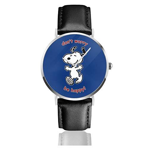 Unisex Business Casual Snoopy Dont Worry Be Happy Watches Quarzuhr Lederarmband schwarz für Männer Frauen Junge Kollektion Geschenk