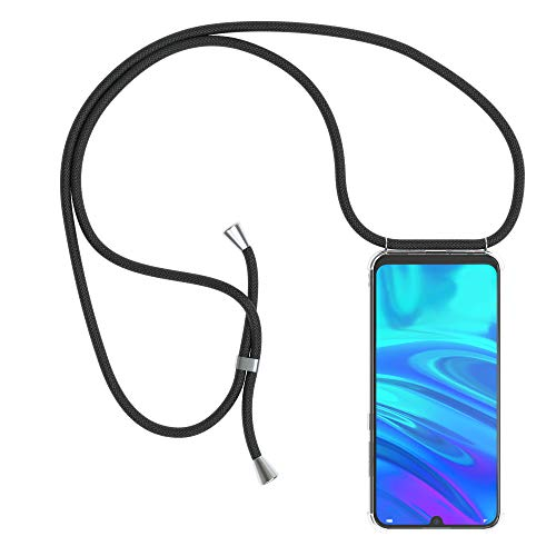 EAZY CASE Handykette kompatibel mit Huawei P Smart (2019) Handyhülle mit Umhängeband, Handykordel mit Schutzhülle, Silikonhülle, Hülle mit Band, Stylische Kette mit Hülle für Smartphone, Schwarz