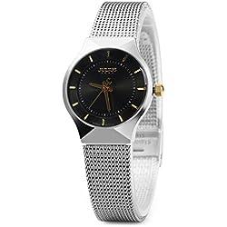 Leopard Shop Julius Female Quartz Wrist Watch Ultrathin Dial Stainless Steel Mesh Band Black