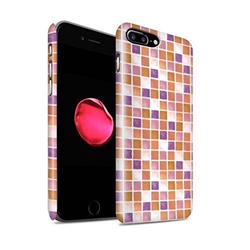 STUFF4 Matte Snap-On Hülle / Case für Apple iPhone 8 Plus / Lila/Grün Muster / Bad Fliesen Kollektion Lila/Orange