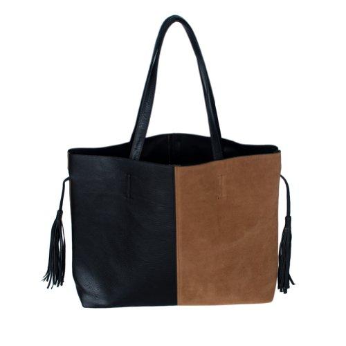 [Certitude Elegance] élégant Noir et marron double poignée en similicuir Sac Sac à main Sac à main W/glands