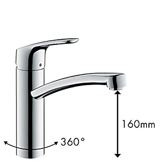 Hansgrohe HG31806000 Focus E² Single-Lever Mixer for Sink-Unit, Chrome, spout Height 160 mm