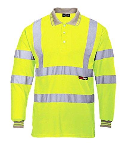 Fast Fashion Oben Herren Lange Ärmel Voller Polo Kragen T-Shirt Hi Viz Reflektierende Arbeitskleidung Sicherheits (Sicherheit T-shirt Gelb)