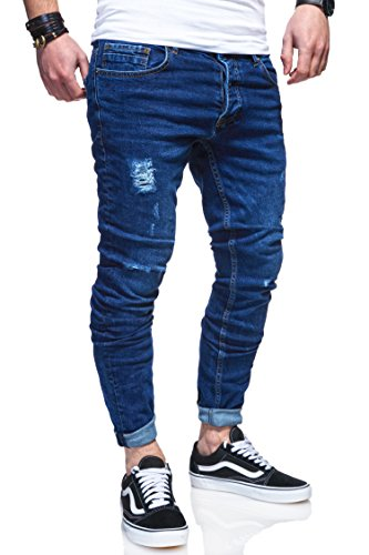 behype. Herren Destroyed Jeans-Hose 80-0100 (30/32, Dunkelblau)