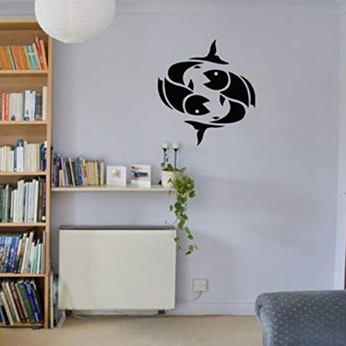 Jiuyaomai tatuaggio segno zodiacale immagine pesce zodiaco vinile adesivi murali impermeabili per soggiorno carta da parati adesivi camera da letto poster nero 57x57cm