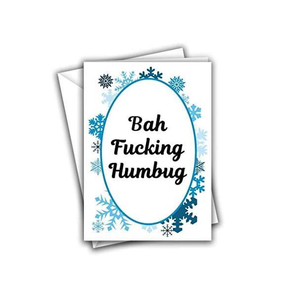 Bah Fucking Humbug Swearing Snowflake Funny Rude Christmas Greeting Card 41Xf4xic2mL