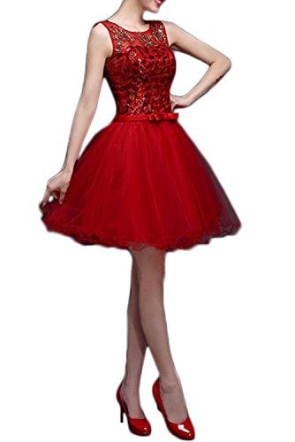 Gorgeous Bride Fashion Rundkragen A-Linie 2017 Tüll Spitze Satin Mini Abendkleider Kurz Ballkleider Cocktailkleider Rot