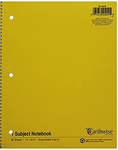 Wirelock Subject Notebook, Quadrille Rule, 8-1/2 x 11, WE, 80