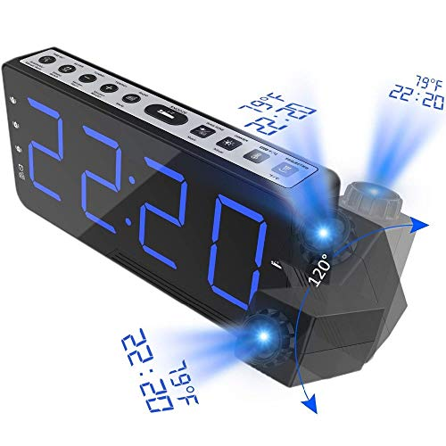 Xzndv Radio Reloj Despertador FM, con Reloj electrónico de Temperatura de Tiempo, Reloj de Noche Digital...