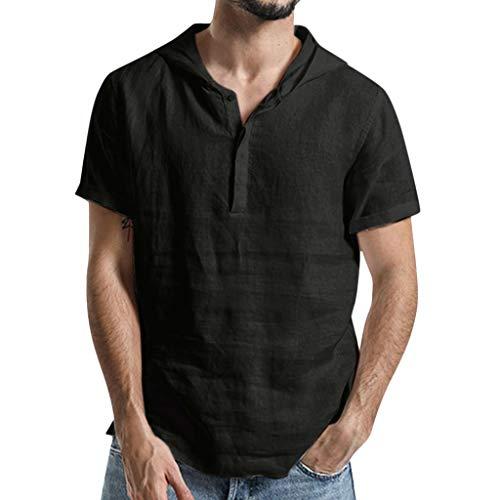 Yooshen Herren T-Shirts Mit Kapuze V-Ausschnitt Einfarbig Casual Lose Bluse Baumwolle Top Bluse Mode Blusen Streetwear Sommerkleidung Für Sport Gym Fitness Stringer Unterhemd (2XL, Schwarz) -
