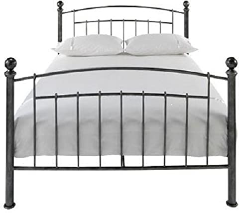 Iceland Wrought Iron Double Bed Frame Antique Pewter With Round Finials