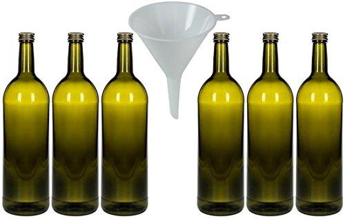 mikken 6 x Glasflasche 1000 ml Antik, Flasche mit Schraubverschluss inkl. Trichter Ø 9 cm