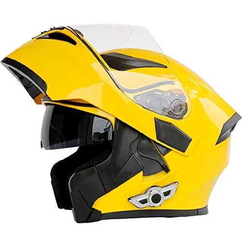 Casco moto Bluetooth, Bluetooth integrato modulare anti-nebbia doppia lente casco Bluetooth design integrato casco Bluetooth (dimensioni : XXL)