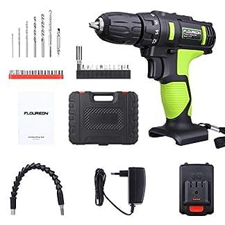Taladro Atornillador, FLOUREON Taladro Inalambrico Professional 21V, Taladro Eléctrico sin Cable con Baterías 1.5Ah de Litio, Conjunto de Accesorios para Taladro