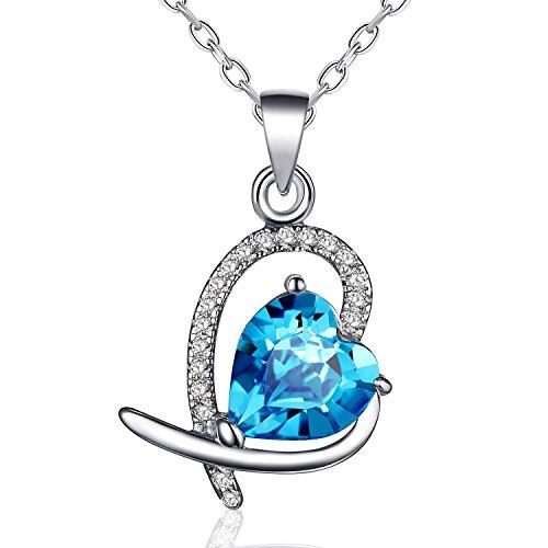 Halskette Damen Silber, Rosey Frauen Kette 925 Silber mit Anhänger Italien 45+3.5cm Verlängerungskette