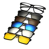 5 in 1 Magnetic Clip On Sunglasses Polarized Glasses For Travel, 2258A
