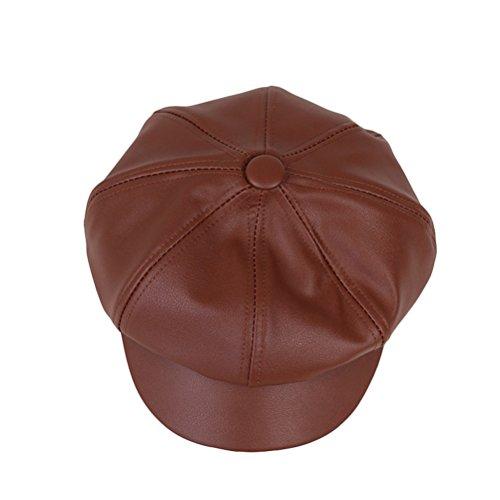 OULII Schirmmützen Leder Mütze Gatsby klassisch Newsboy-Stil Unisex und Künstler Hut (Braun)