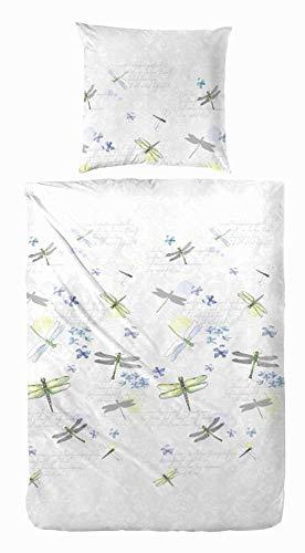 Hahn Perkal Bettwäsche 133010 weiß silber 135x200 cm + 80x80 cm