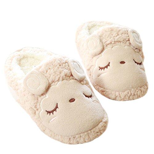 Fortuning's JDS Unisexe Adultes Couple Velours Confortable Chaussures Polaires Merveilleuse Mouton agréable forme plate Pantoufles Kaki