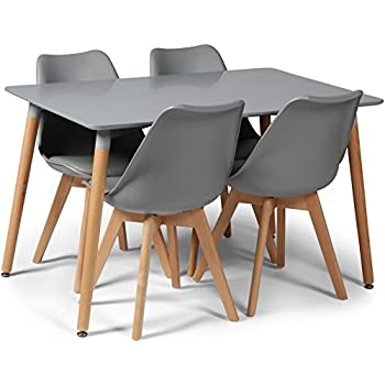 Toulouse Tulip Eiffel Style Dining Set - Grey 120x80cms Small Rectangular Table And 4 Grey Chairs