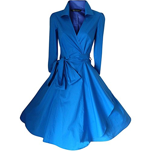 WintCO Damen Vintage Mantel Kleider formal Mantel mit Gürtel V-Ausschnitt Retro Kleid Audrey Hepburn Kleid (XL, blau) Audrey Mantel