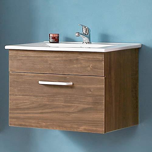 Waschplatz 60 cm breit mit Unterschrank Badezimmermöbel Waschtisch mit Unterschrank Walnuss -