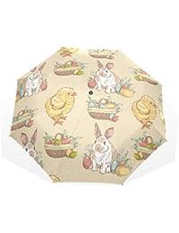 EZIOLY - Paraguas de Viaje Ligero con diseño de Huevos de Pascua y Conejo, antiUV