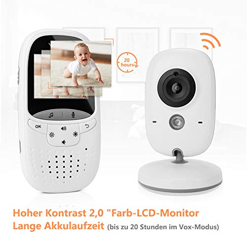 Yissvic Babyphone 2.4GHz mit Kamera Wireless Video Baby Monitor Nachtsicht Gegensprechfunktion Temperatursensor 2.0 Zoll LCD - 6