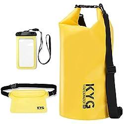 Premium bolsa estanca 20L impermeable seca de PVC - Set de bolsa estanca con funda impermeable táctil para móvil y bolsa cintura con correa ajustable gratis para playa y deportes al aire (rafting/ kayak navegación/ senderismo/ esquí/ buceo/ pesca/ escalada/ camping)