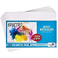 Brustro Artists Watercolour Paper 300 GSM A4-25% Cotton, Cold Pressed, Contains 18 + 6 Sheets Free