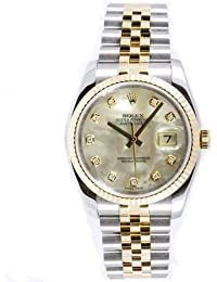 Rolex Mens New Style Heavy Band Stainless Steel & 18K Gold Datejust Model 116233 Jubilee Band Fluted Bezel Mother Of Pearl Diamond Dial
