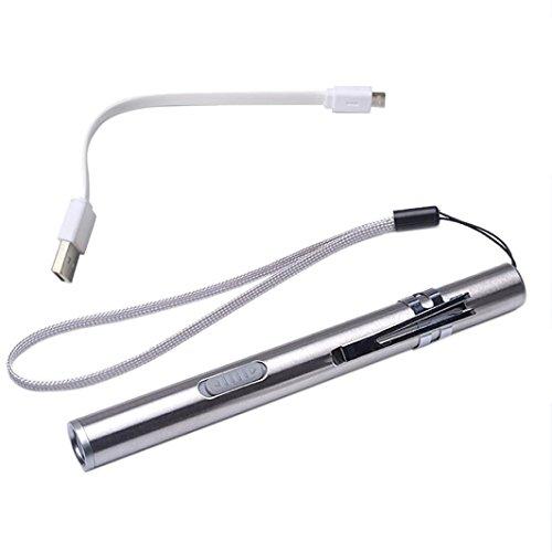 Mitlfuny Portable USB wiederaufladbar LED-Taschenlampen Wasserdichter Mini Fackel Schlüsselanhänger Lampe - ideal für Camping, Wandern und Spaziergang mit Hunde (Silver)