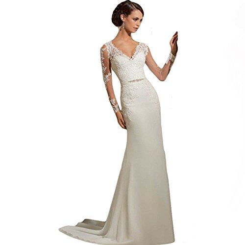 WeWind Damen Langarm Brautkleid V-Ausschnitt Hochzeitskleid Spitzen und Tüll Brautmode Schleppe Etui (S)