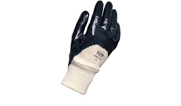 Size 9 10-1//2 Length Blue 0.055 Thickness 10-1//2 Length Mapa Professional 391399 Work Bag of 12 Pairs MAPA Titan 391 Nitrile Mediumweight Palm and Finger Coated Glove 0.055 Thickness
